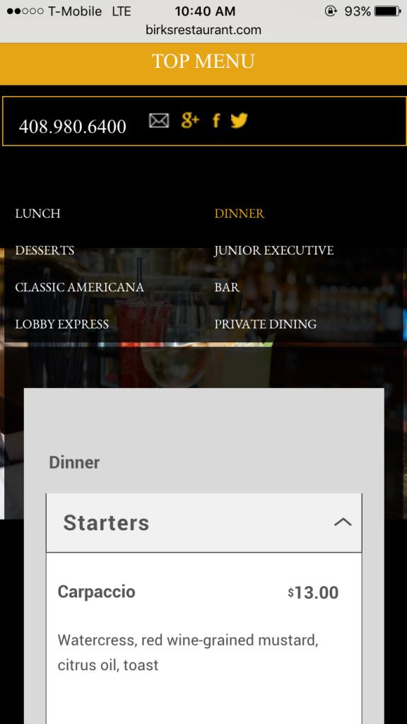 mobile website birks restaurant