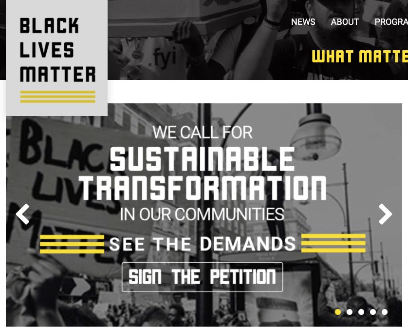 Black Lives Matter homepage