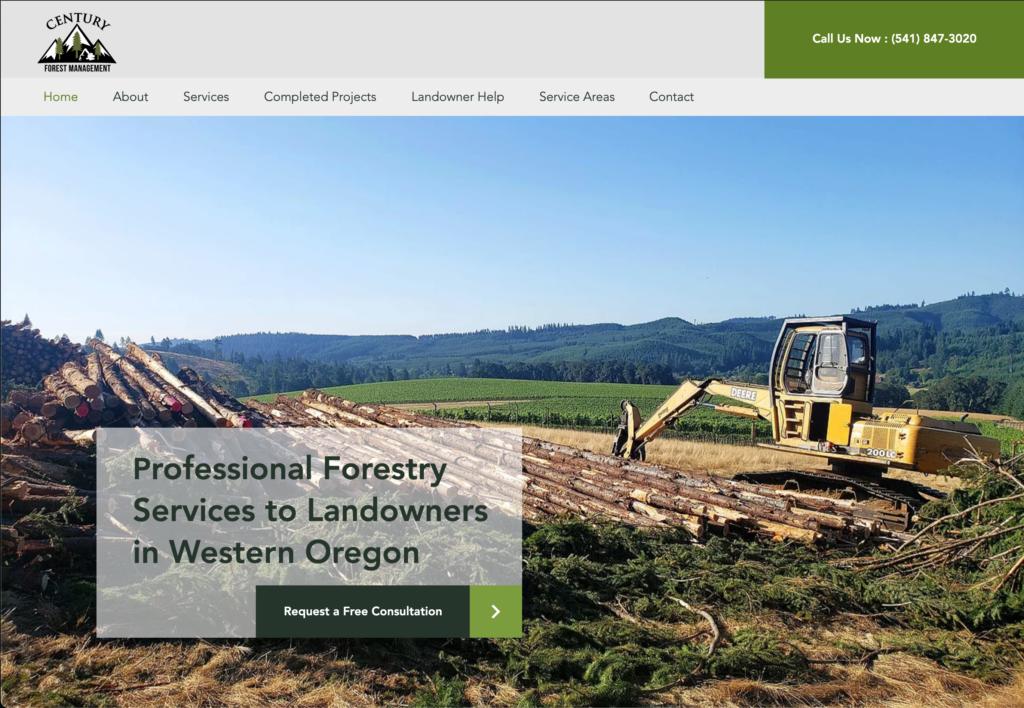 Century Forest Management Website Homepage Design